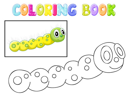 Coloring caterpillar Vector