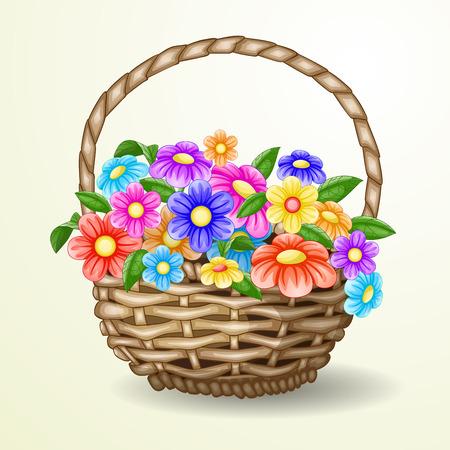 flowerses: flowers in a basket Illustration