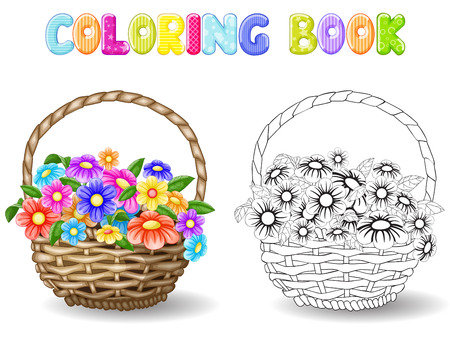 gift basket: Coloring flowers in a basket