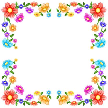 Bunte Blumen-Rahmen Standard-Bild - 40298031