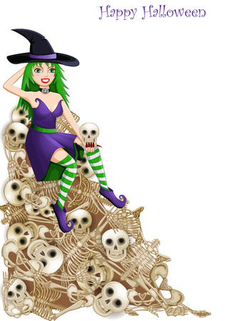 girl cute: Witch over skeleton bones