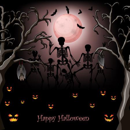 squelette: Conception de l'affiche de squelette Halloween
