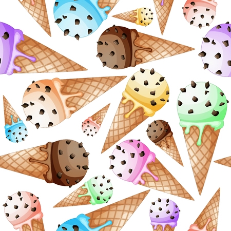 glace: Ice cream in wafer cone pattern Illustration