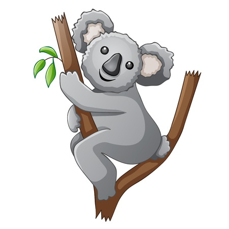 illustration line art: Cute koala cartoon on a tree