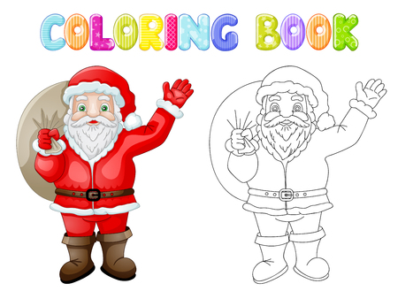 Coloring Cartoon Santa Claus with bag