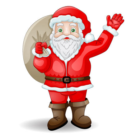 claus: Cartoon Santa Claus with bag Illustration
