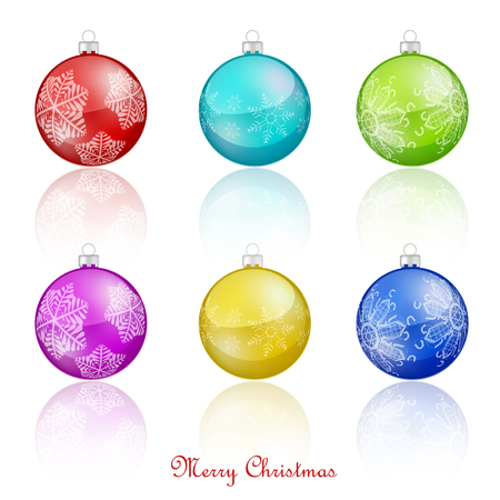 Set of Christmas balls on white background Illustration