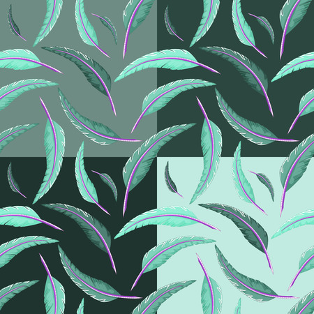 Seamless multicolored quill pattern Illustration
