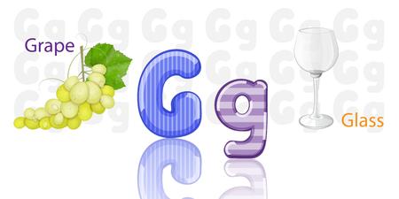 frutas divertidas: Ilustraci�n de G del alfabeto Vectores