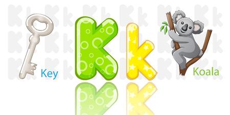 funny animals: Illustration of K alphabet Illustration