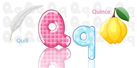 funny fruit: Illustration of Q alphabet