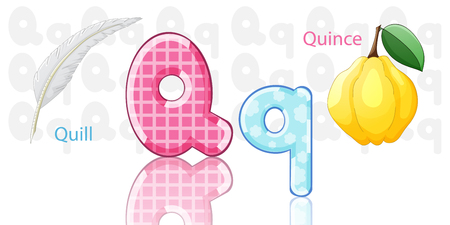 frutas divertidas: Ilustraci�n del alfabeto Q