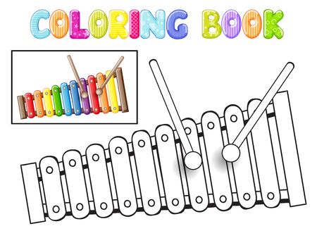 xilofono: Colorear xil�fono en el fondo blanco Vectores