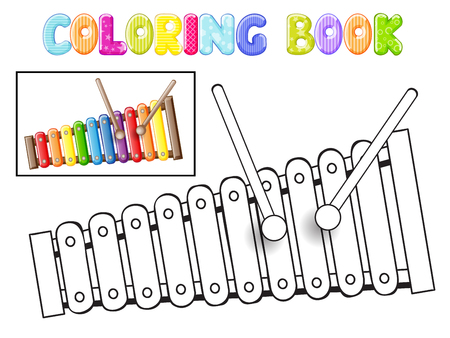 Colorare xilofono su sfondo bianco