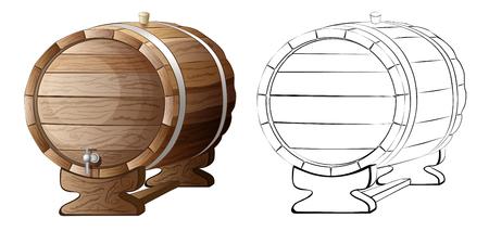 tun: wooden barrel illustration isolated on white background Stock Photo