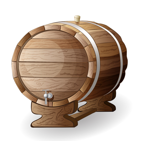 hogshead: wooden barrel vector illustration isolated on white background