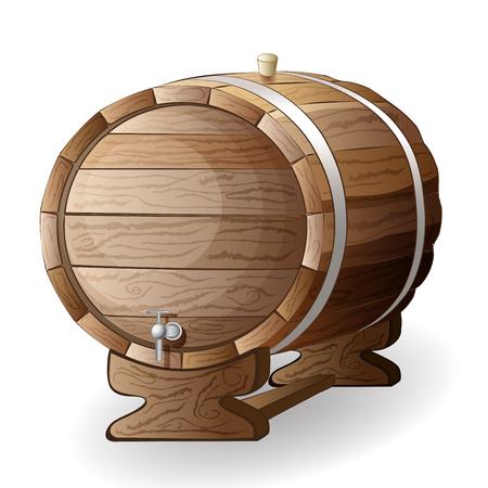hogshead: wooden barrel vector illustration isolated on white background