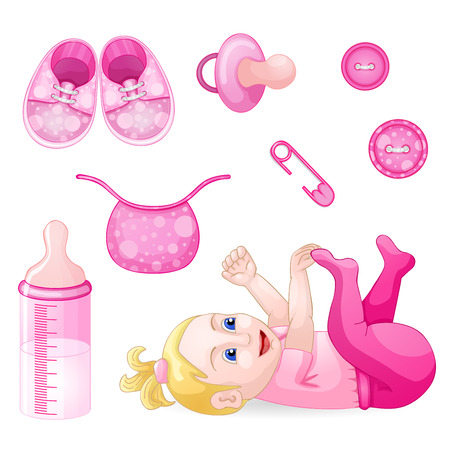 babys dummies: Set of design elements for baby shower