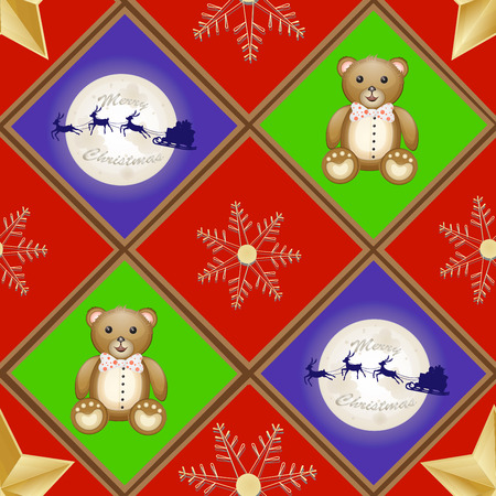 over the moon: Christmas pattern with teddy bear and Santa sleigh and reindeer over moon