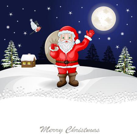 snow scene: Santa Claus in Christmas snow scene.