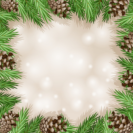 pine cone: Pine cone with branch and snowflakes Stock Photo
