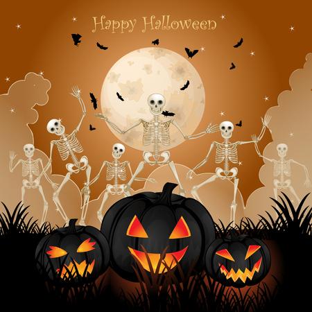 halloween skeleton: Halloween skeleton poster design Stock Photo