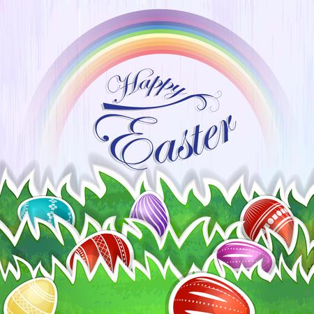 rainbow background: Easter eggs over rainbow background