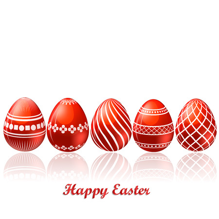 card: Easter red eggs card