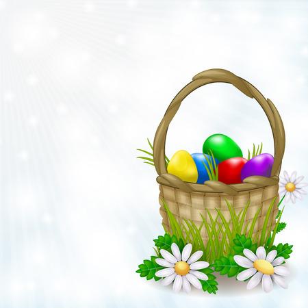 religion  herb: Basket full of easter eggs on a light background Stock Photo