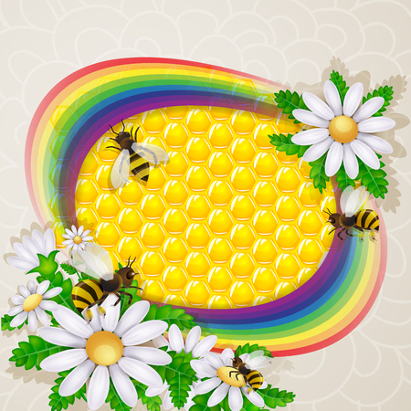 golden daisy: Rainbow with bee and honeycomb