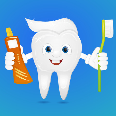 toothpaste: Cartoon tooth with brush and toothpaste Stock Photo