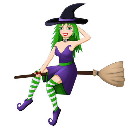 broomstick: Beautiful green haired witch flying on a broomstick isolated on white background Stock Photo