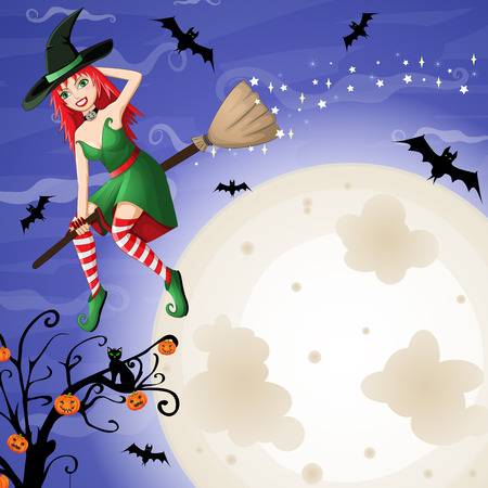 bewitched: halloween card with sexy red-haired witch flying over moon