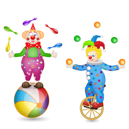 unicycle: Two clowns with ball and unicycle