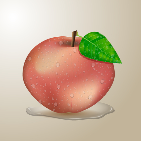apple leaf: Red apple with water drops
