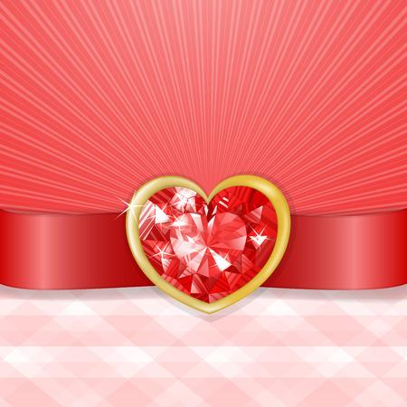 diamond heart: Valentines card with red diamond heart