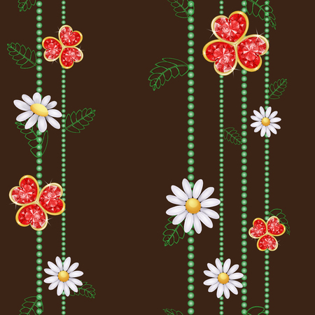 red diamond: Pattern with flowers and red diamond hearts