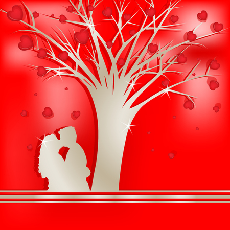 amorous: Tree of love with lovers silhouette