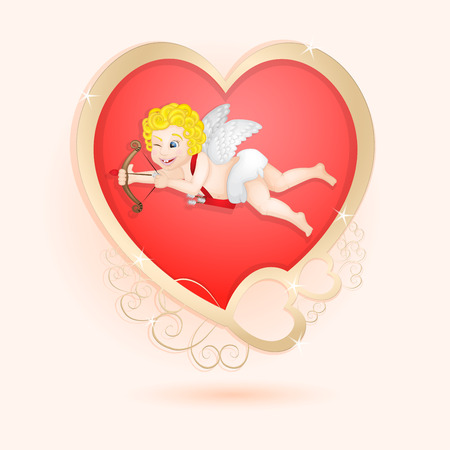 golden heart: Golden heart with cupid isolated Stock Photo