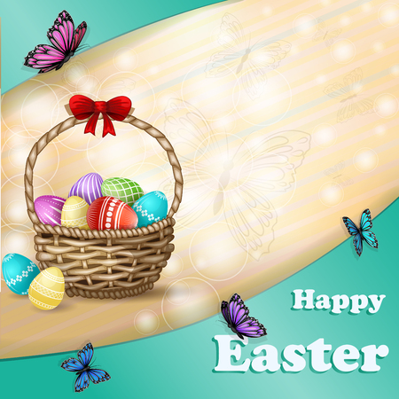 Easter background with Easter eggs and butterfly