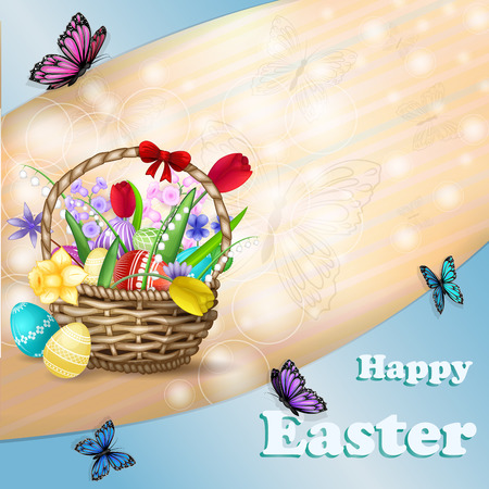 Easter Basket with spring flowers