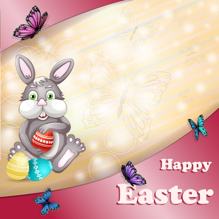 Easter Bunny and butterflies