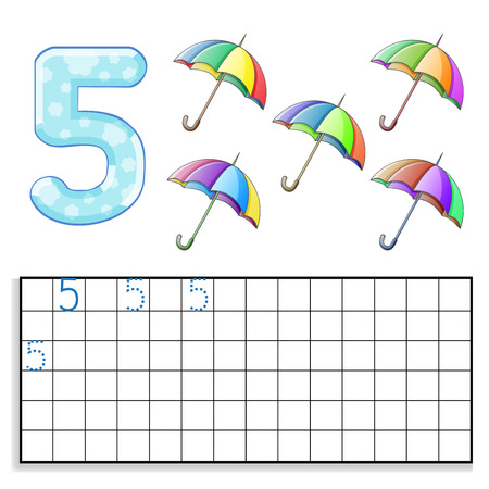 Number 5 with five umbrellas