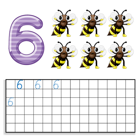 Number 6 with six bees