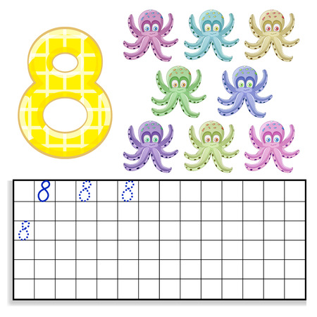 Number 8 with eight octopus Illustration