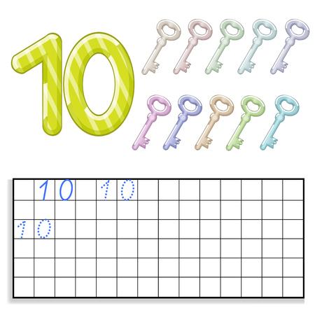 numero diez: Número diez con diez teclas