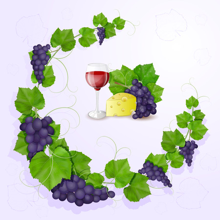 Grapes with leaves background