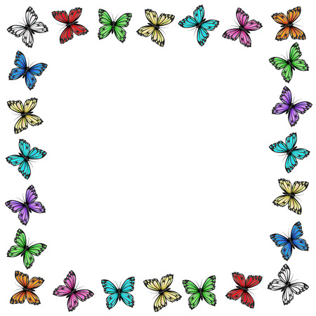 Multicolored butterflies frame on white