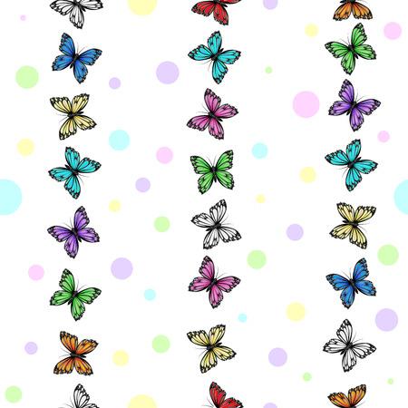 Butterflies pattern on white