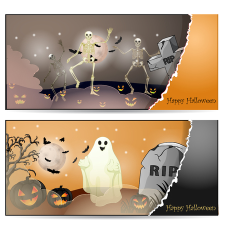 Halloween card with spooky things